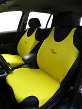 2 YELLOW FRONT VEST T-SHIRT CAR SEAT COVERs PROTECTOR FOR MITSUBISHI SHOGUN