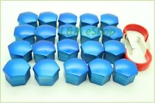 20x Blue Universal Wheel Nut Covers 19mm Hex  Comes with Removal Tools