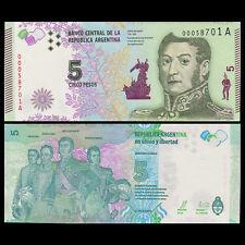 Argentina 5 Pesos, 2015, P-New, UNC New Design, A Series