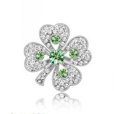PRETTY WHITE GOLD PLATED AND GREEN  GENUINE SWAROVSKI CRYSTAL SHAMROCK BROOCH.