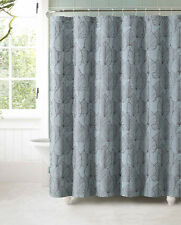 Blue Gray Brown Autumn Leaves Jacquard Geometric Fabric Bathroom Shower Curtain