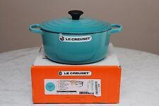 Le Creuset Dutch Oven Cast Iron 5-1/2, 5.5 Qt #26 Blue Caraïbes Caribbean Teal