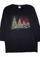 L 14/16 CHRISTMAS TREES CRYSTAL ORNAMENT DESIGN TERAZZO COTTON KNIT TOP OPTIONS