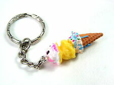Novelty Cute 3D Ice Cream resin Keyring Key Handbag Buckle Charm