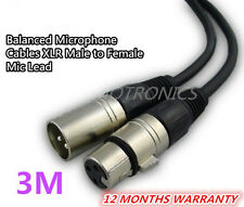 3m Balanced Microphone Cables XLR Male to Female Mic Lead cable