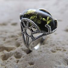 Size 6, Size L 1/2, Size 52, Green, BALTIC AMBER Ring, 925 STERLING SILVER #1791