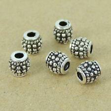 6 PCS 925 Sterling Silver Beads Vintage Barrel Jewelry Making 5x5mm WSP406X6
