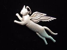 """JJ"" Jonette Jewelry Silver Pewter Winged Angel CAT Pin ~ CATS are Angels"