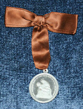 Beautiful Vintage Religous Medal Protect Us & Our Children On Brown Satin Ribbon