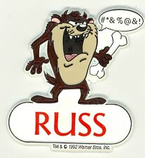 Tazmanian Devil Name Magnet ~ RUSS ~Looney Tunes Collectible~Stocking Stuffer