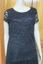 Isaac Mizrahi Lace Cap Sleeve Blouse Black or Red NWT MSRP: $48