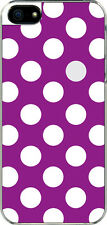 iPhone 5 Purple and White Polka Dot Designed Sticker on Hard Case Cover