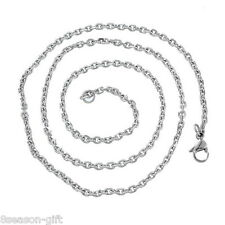 5PC Stainless Steel Silver Tone 2.8mm Cross Chain Necklace 51cm