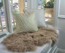 GENUINE CAMEL BEIGE TIBETAN MONGOLIAN FUR SHEEPSKIN LAMBSKIN HIDE RUG THROW