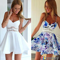 Womens Sexy V Neck Summer Strap Party Prom Skater Mini Dress Chiffon Short Skirt