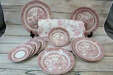 CHURCHILL ENGLAND ROSA PINK WILLOW Mixed Lot Plates Bowls Place Mats Saucers +
