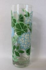 """Vintage Georges Briard White Green Hydrangea Flowers Tall Drinking Glass 6.75"""""""