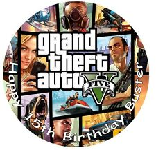 "Grand theft auto cinco (GTA 5) 7.5"" Glaseado Cake Topper con Personalización Gratis"