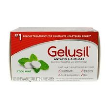 Gelusil Antacid/Anti-Gas Tablets Cool Mint, 100 Tablets (Pack of 2)