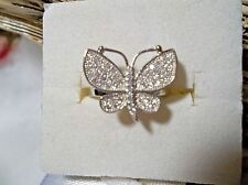 *** SIMULATED DIAMOND BUTTERFLY COCKTAIL RING SIZE 7 TGW 3.48 CTS 925 SILVER ***
