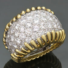 Fantastic! 1980s DAVID WEBB Diamond Platinum 18k Yellow Gold Ring Size 54