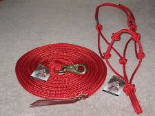 THOMEY NATURAL HORSE TRAINING HALTER & 14FT. LEAD ROPE~GREAT FOR GROUNDWORK~ RED