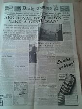 DAILY EXPRESS NEWSPAPER WW2. Nov 15th 1941. Ark Royal went down like a gentleman