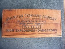 Vintage Dynamite Wood Shipping Crate - American Cyanamid New York NY Wooden Box
