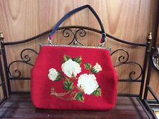 Vintage Style Ladies Red Needlepoint  Evening Handbag, Occasion Purse