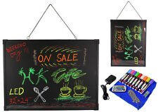 "32"" x 24"" Flashing LED Neon Menu Sign Fluorescent Message Erasable Writing Board"