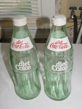 2 - Coca-Cola DIET Coke 33.8 oz 1 Liter PRINT ERROR Glass Wide Bottles Vintage