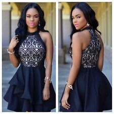 SEXY BLACK  LACE & NUDE PEPLUM SKATER DRESS SIZE 8-10-12-14