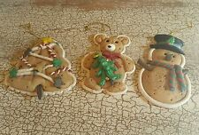 Cookie Christmas Gingerbread Ornaments Set of 3 Snowman Tree Teddy Bear Holiday