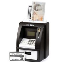 BLACK ELECTRONIC COIN NOTE MONEY COUNTING ATM BOX SAVING SAFE DIGITAL PIGGY BANK