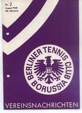 Tennis Borussia Berlin - Vereinsnachrichten - August 1968