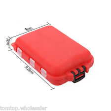 Fishing Tackle Box 10 Compartments Small Size Fishing Hooks Swivels Beads Red