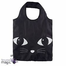 Sass & Belle Black Cat Kitten Foldable Reusable Shopping Shopper Tote Bag Gift