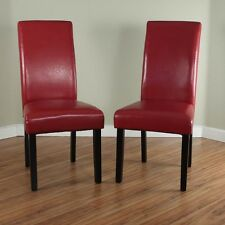 Villa Faux Leather Red Finish Dining Room Furniture Side Accent Chair Set Of 2