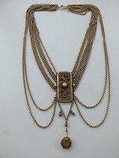 9-reihige Kropfkette mit prächtiger Vorderschließe + Behang 13 Lot Silber 19. Jh