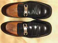 Salvatore Ferragamo Black with Silver Buckle Loafers Moccasins. Men's Size 9 1/2