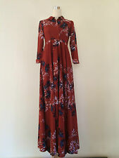 Free People After the Storm Maxi Size 0 Red Shirt Dress Floral Brand NEW Boho
