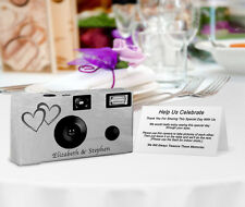 10 Silver Coupled Heart PERSONALIZED Wedding Cameras, disposable cameras