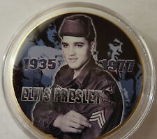 ELVIS PRESLEY THE KING OF ROCK N ROLL  24K GOLD  PLATED MEMORABILIA COIN #24s