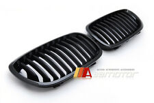 BLACK GLOSSY SHINY FRONT KIDNEY GRILLES for 2003-2006 BMW E46 LCI 3-SERIES COUPE