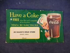 vintage coca cola thank you for shopping card De Shazos Drug Store Dewey, Ok.