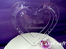 Engraved Heart Acrylic Personalised Wedding cake toppers with SWAROVSKI CRYSTALS