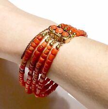 14k gold antique vintage salmon rich NO dye coral bracelet