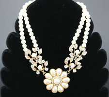 Betsey Johnson White Crystal Beaded Double layer Flowers Upscale Inlay Necklace