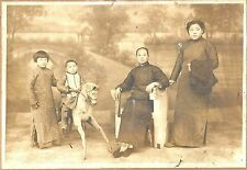 Cabinet Photo of a Chinese Family c1890s w/ Boy on Toy Riding Horse