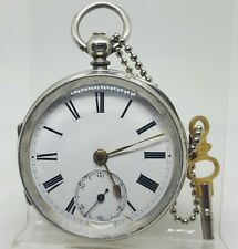 Nice antique solid silver gents fusee Chester pocket watch 1892 working